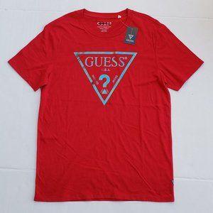 New Men's GUESS Triangle Logo Red Shirt sz M